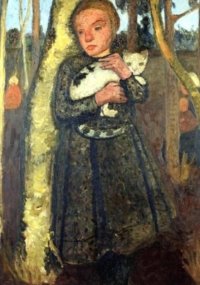 Paula Modersohn-Becker, Mädchen im Birkenwald mit Katze