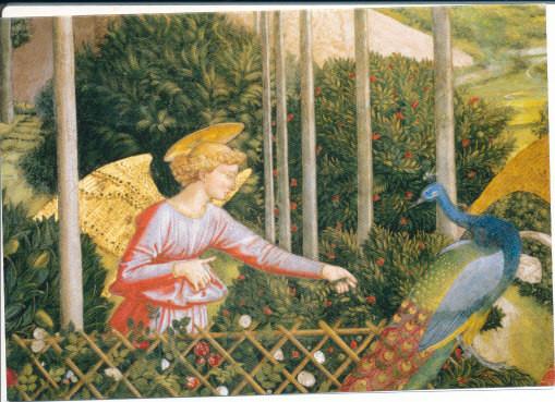 Benozzo Gozzoli, Engel mit einem Pfau