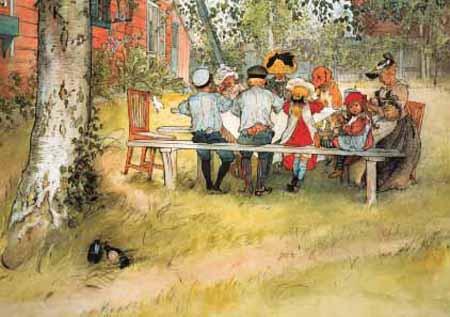 Carl Larsson, Das Frühstück unter der Birke