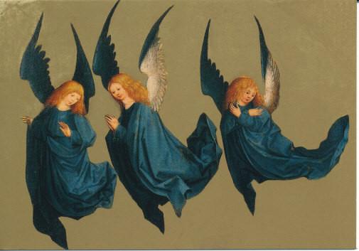 Artikel auf Anfrage, Schwebende Engel, Fragment eines Altarflügels, Meister des Hausbuchs, 1491