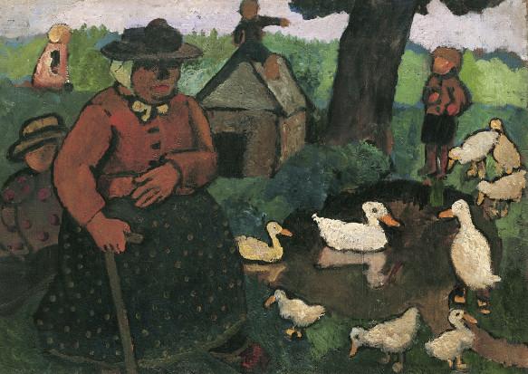Paula Modersohn Becker, Sitzende Dreebeen mit Kindern am Ententeich