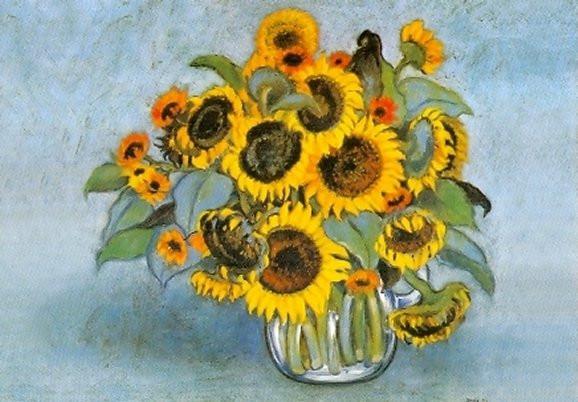 Heide Dahl, Sonnenblumen in der Glasvase