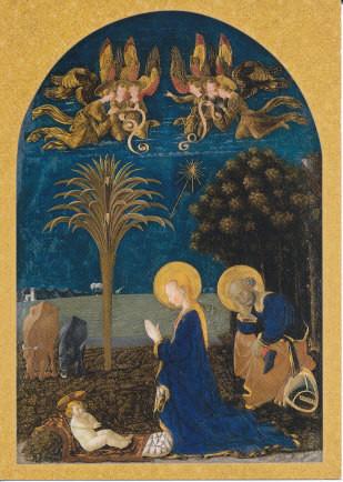 Paolo Ucello, Anbetung des Kindes vor nächtlicher Landschaft