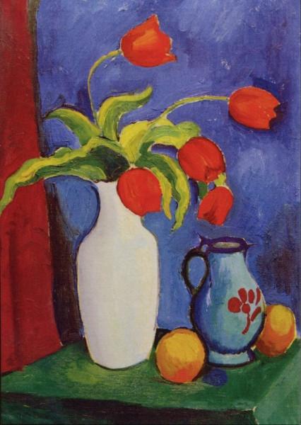 August Macke, Rote Tulpen in weißer Vase