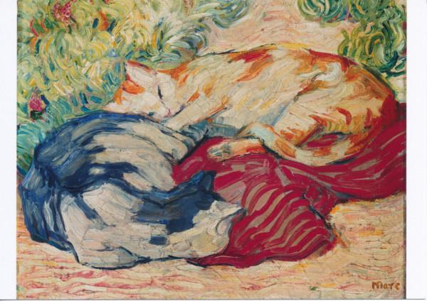Franz Marc, Katze auf rotem Tuch