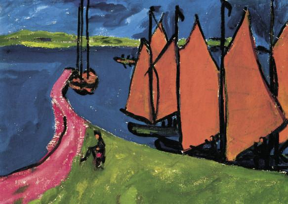 Erich Heckel, Segelschiffe im Hafen