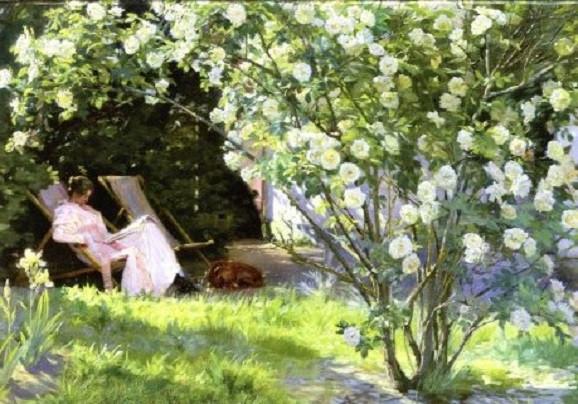 Peder Severin Kroyer, Rosen (Die Frau des Künstlers im Garten in Skagen)