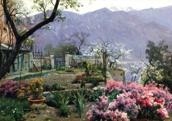 Peder Monsted, Blumengarten bei Bellagio