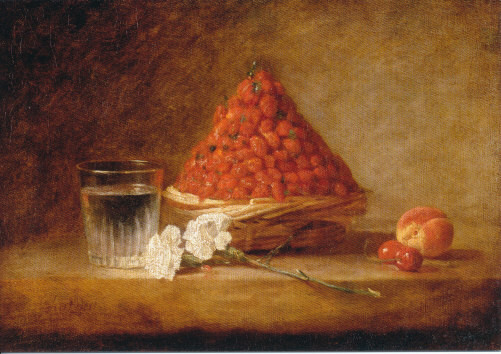 Chardin, Jean Baptiste, Korb mit Walderdbeeren