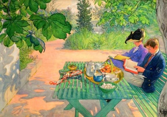 Carl Larsson, Lesen im Urlaub