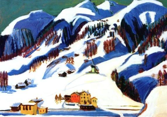 Kirchner, Ernst Ludwig, Berge und Häuser im Schnee