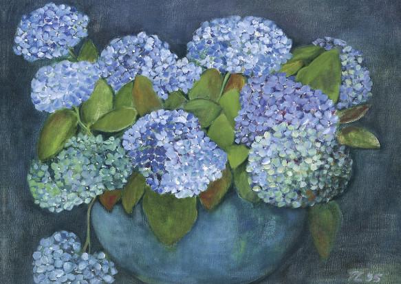 Tomma Leckner, Hortensien in blauer Vase