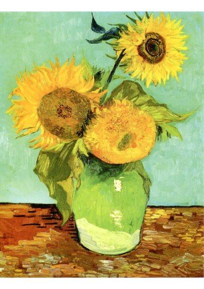 Vincent van Gogh, Drei Sonnenblumen in einer Vase