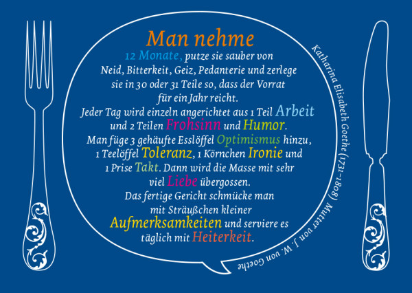 Goethe, Lebensrezept