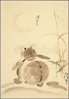 Shoshin Hitsu, Hase betrachtet den Vollmond