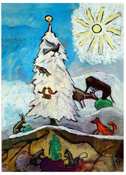 Gabriele Münter, Weihnachtsbaum der Tiere, 1951