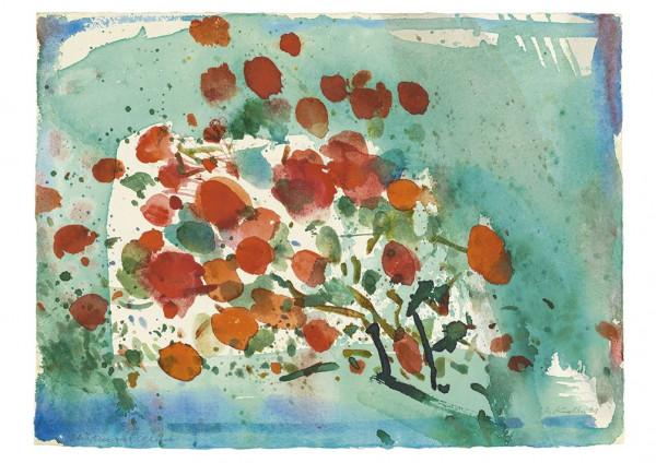 Oskar Koller, Blüten vor Grün