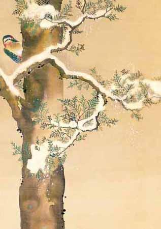 Sakai Hotsu, Vogel im Baum im Dezember