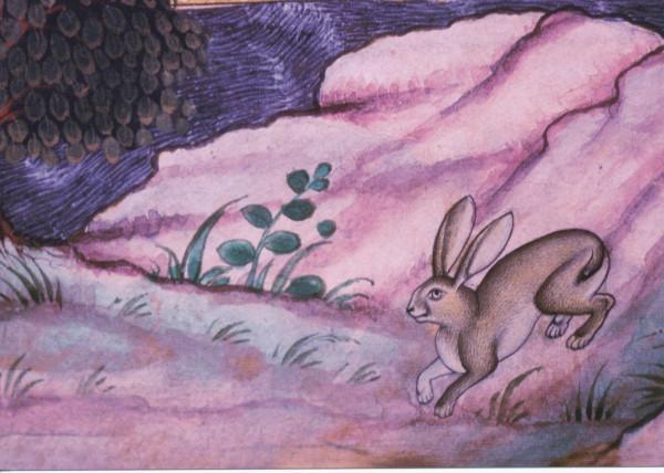 Miniatur, Landschaft mit Hase und Baum