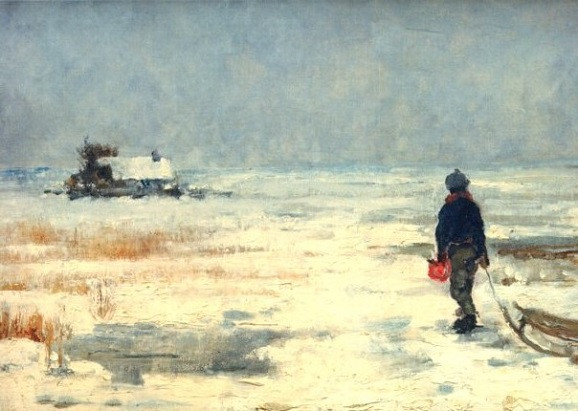 Franz Marc, Knabe mit Schlitten in Winterlandschaft