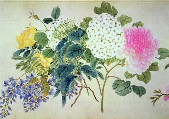 Japanische Schule, Studie über Phlox und andere Blumen