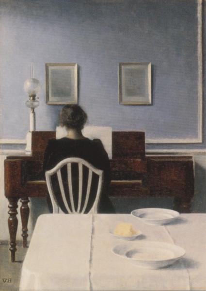 Vilhelm Hammershoi, Mädchen am Klavier, 1901