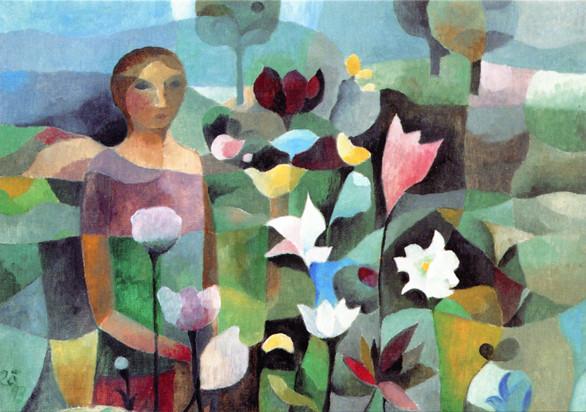 Werner Zöhl, Frau mit blühenden Blumen