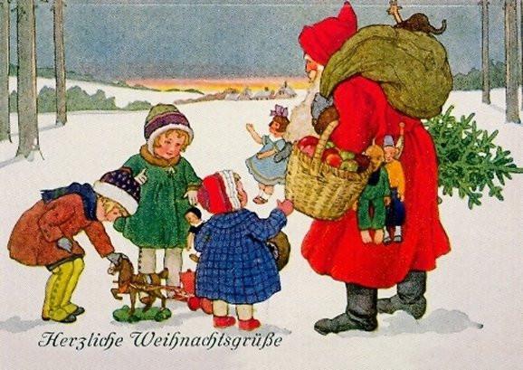 Herzliche Weihnachtsgrüße, Kartenmotiv aus dem 19. Jahrhundert
