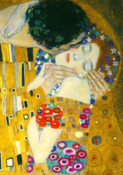 Gustav Klimt, Der Kuss (Detail)