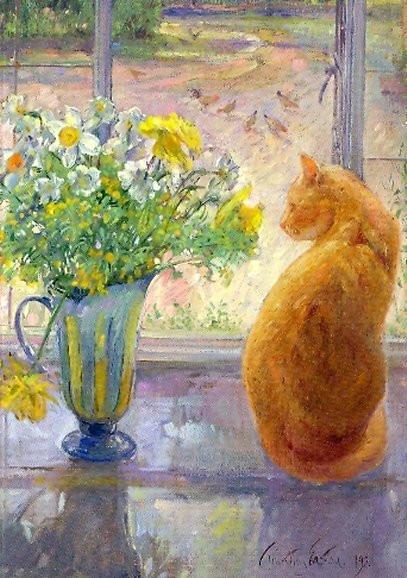 Timothy Easton, Gestreifter Krug mit Frühlingsblumen