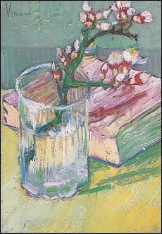 Vincent van Gogh, blühender Mandelzweig und Buch 1888