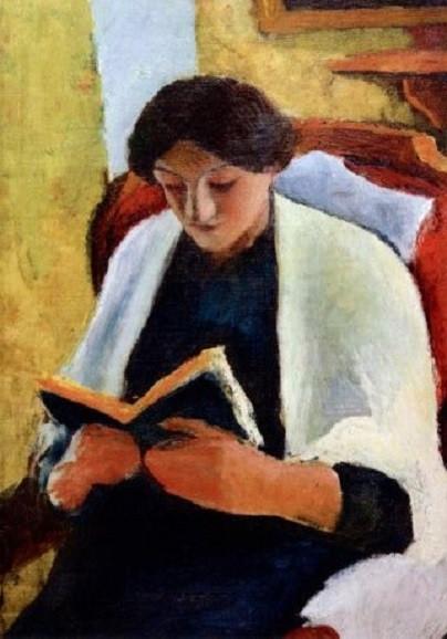August Macke, Lesende Frau im roten Sessel