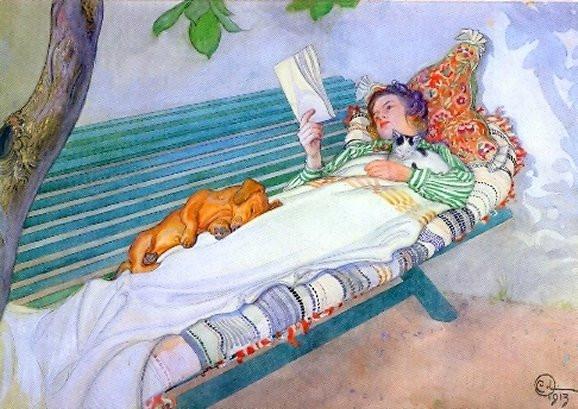Carl Larsson, Lesende Frau auf einer Gartenbank