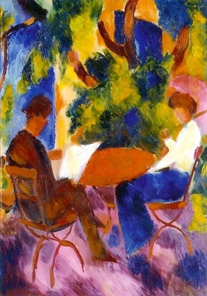 August Macke, Paar am Gartentisch
