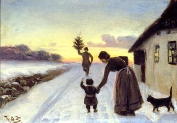 Hans Andersen Brendekilde, Die Ankunft des Weihnachtsbaumes