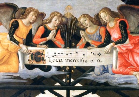 Domenico Ghirlandaio, Anbetung der Könige - Ausschnitt: Vier Engel