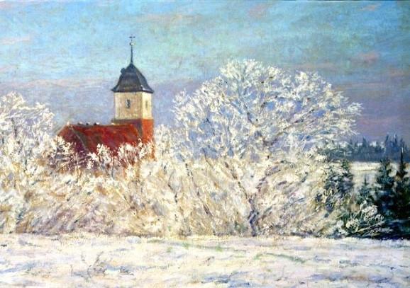 Walter Bertelsmann, Worpsweder Kirche im Schnee