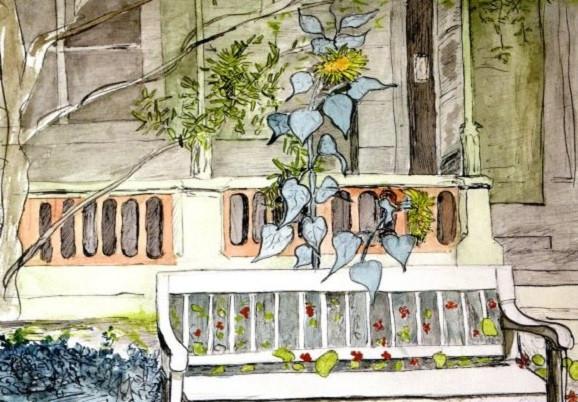 Hermann Hesse, Holzhaus mit Sonnenblumen