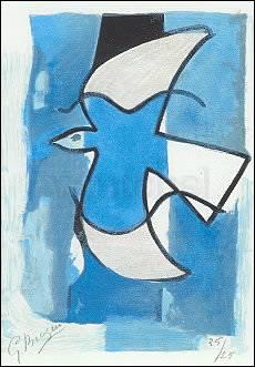Georges Braque, Vogel in Blau und Grau