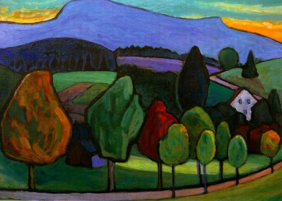 Gabriele Münter, Landschaft mit blauem Berg, 1952