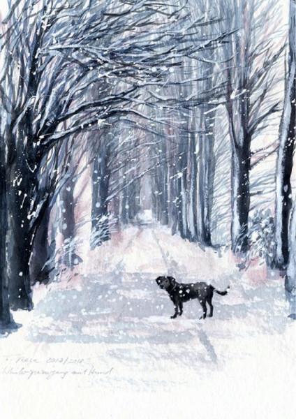 Friederike Rave, Winterspaziergang mit Hund