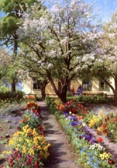 Peder Monsted. Blühender Garten im Frühling