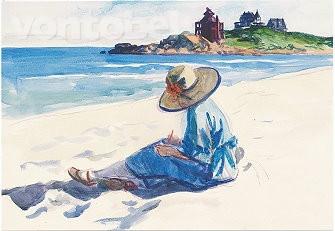 Edward Hopper, Jo, am Strand von Good Harbor zeichnend (1923/24)