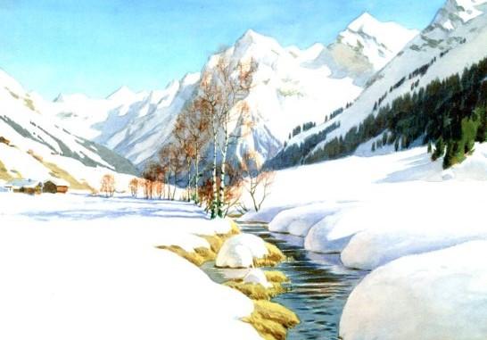 Kessler, Carl, Spätwinter bei Klosters (Graubünden) fd-9224