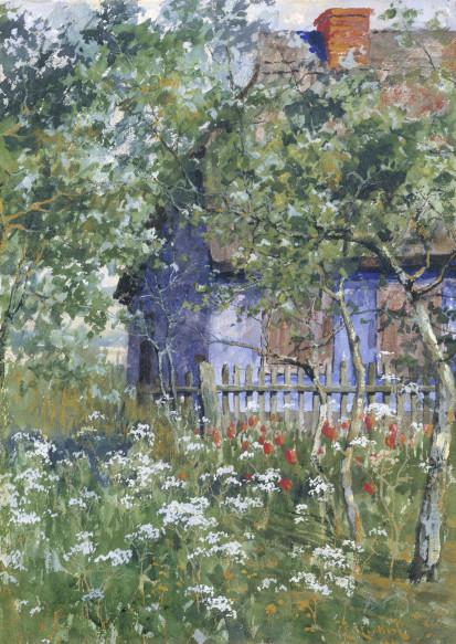 Elisabeth von Eicken, Ahrenshooper Katen mit Tulpen und Schafgarbe