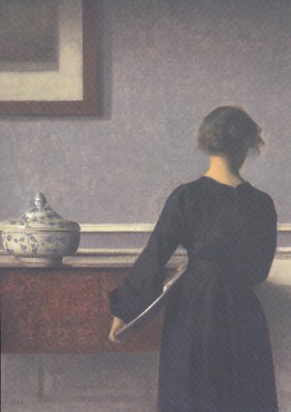 Vilhelm Hammershoi, Junge Frau in Innenraum