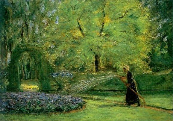 Max Liebermann, Das Rondell im Heckengarten mit Blumensprengerin
