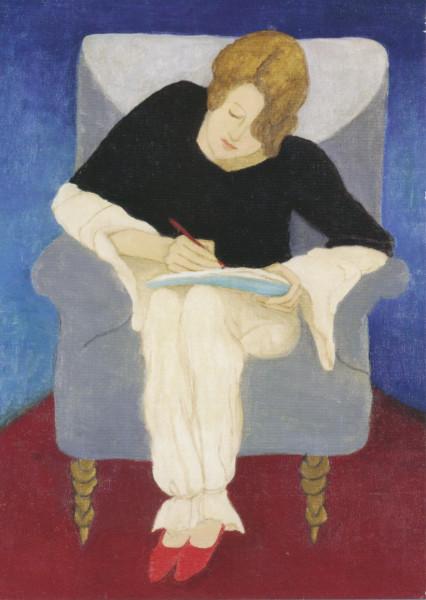 Gabriele Münter, Dame in Sessel, scheibend