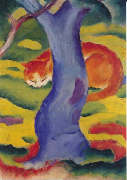 Franz Marc, Katze hinter einem Baum