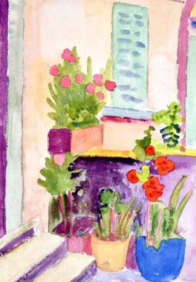 Hermann Hesse, Hauseingang mit Blumen